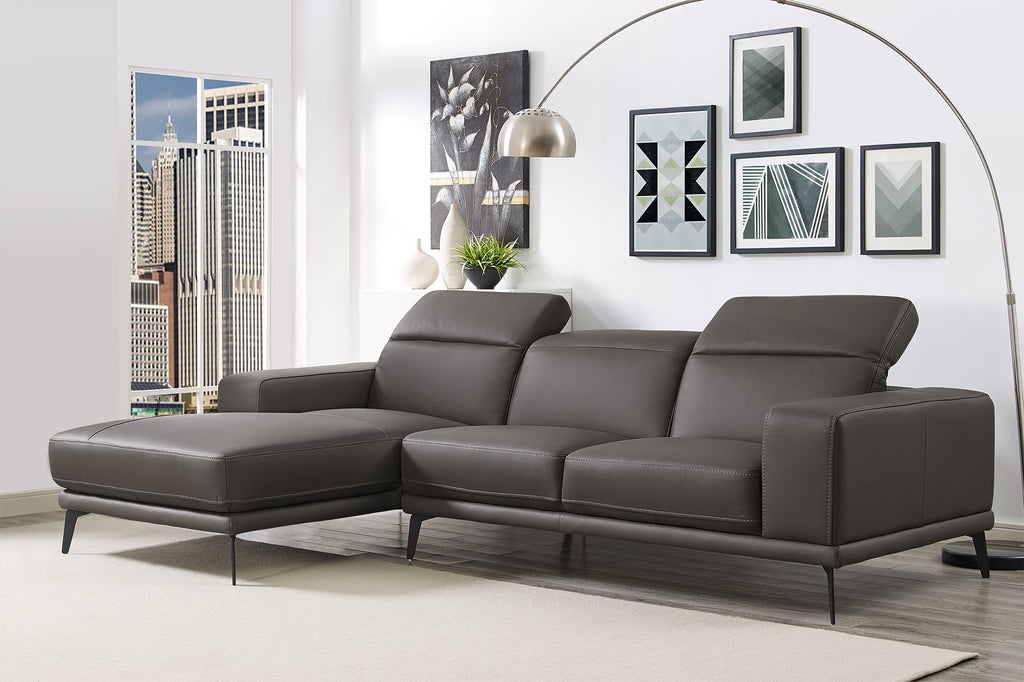 Preston Sectional, chaise on left when facing, dark gray top grain italian leather, adjustable headrests, iron legs.