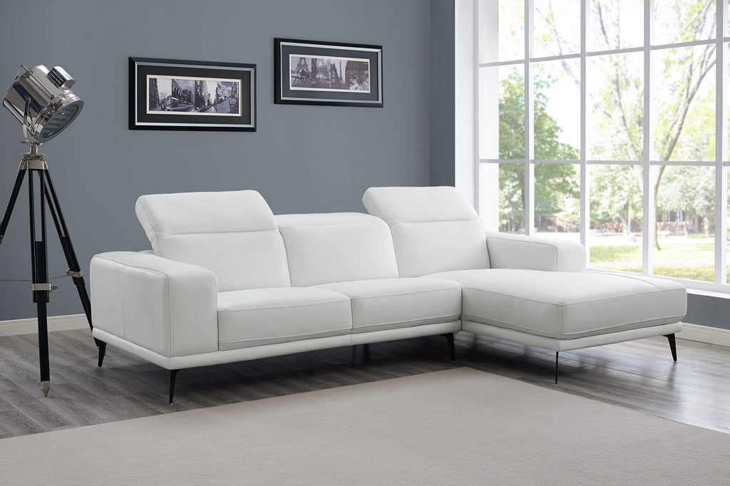 Preston Sectional, chaise on right when facing, white top grain italian leather, adjustable headrests, iron legs.