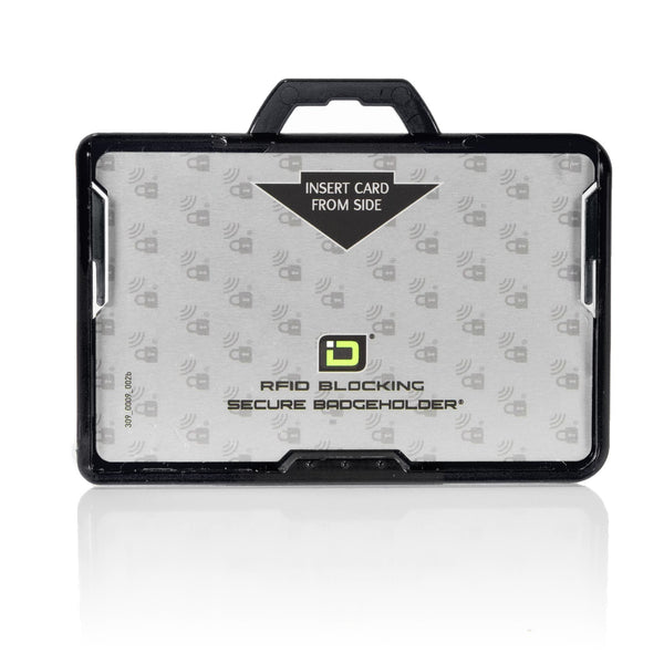 ID Stronghold Badgeholder BloxProx Black Secure Badge Bolder BloxProx™ Lite LANDSCAPE - Protects 125Khz HID Prox