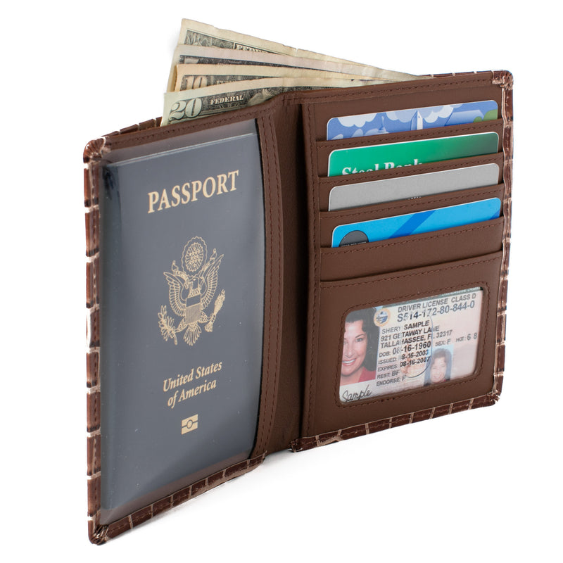 ID Stronghold Passport Brown Croc RFID Blocking Passport Wallet Designer