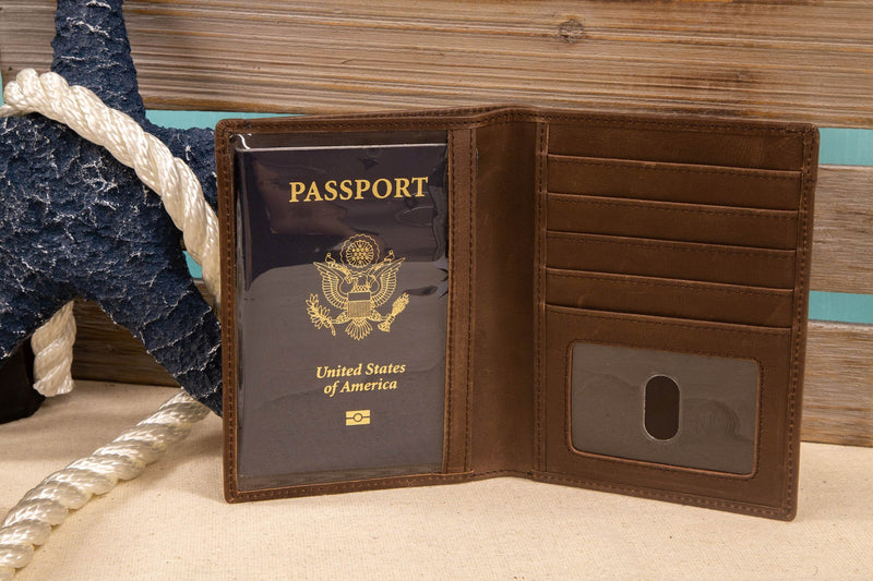 ID Stronghold Safe Harbor Brown Safe Harbor Leather and Canvas Passport Holder