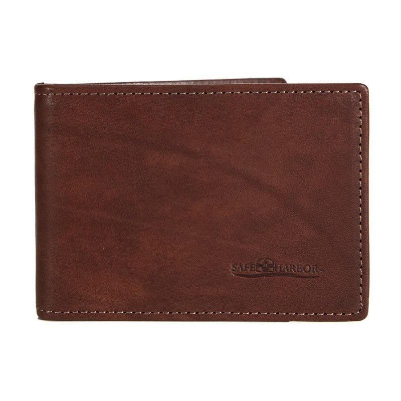 ID Stronghold Safe Harbor Men Dark Brown Safe Harbor RFID Blocking Italian Leather Front Pocket Wallet