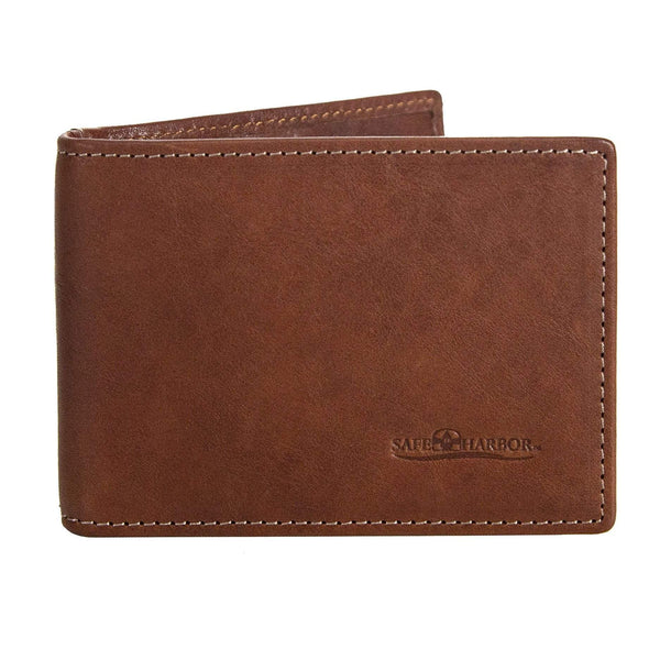 ID Stronghold Safe Harbor Men Safe Harbor RFID Blocking Italian Leather Front Pocket Wallet