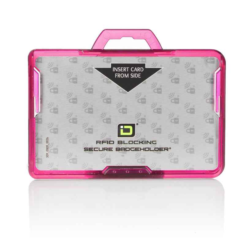 ID Stronghold Badgeholder BloxProx Pink Secure Badge Bolder BloxProx™ Lite LANDSCAPE - Protects 125Khz HID Prox