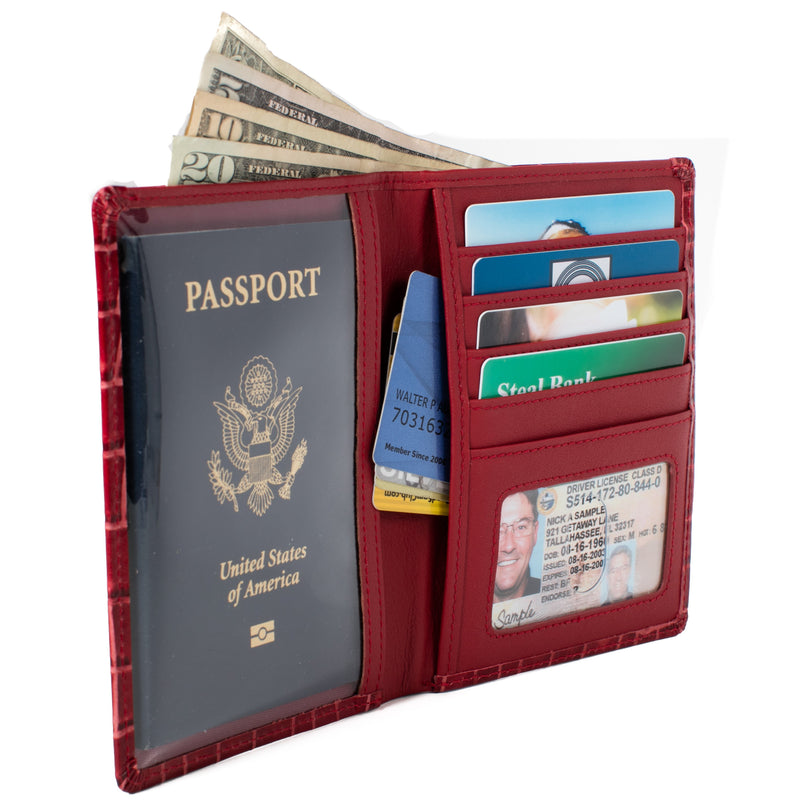 ID Stronghold Passport Red Croc RFID Blocking Passport Wallet Designer