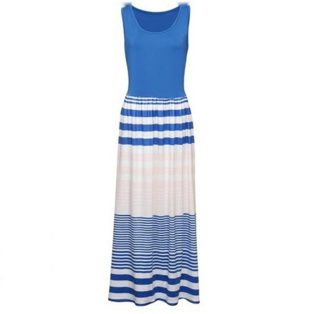 Evie Striped Fitted Maxi Dress - Didi Royale