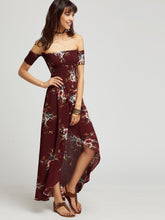 Didi Royale  | Clothing | Malia Burgundy Florals Off The Shoulder Shirred Wrap Dress