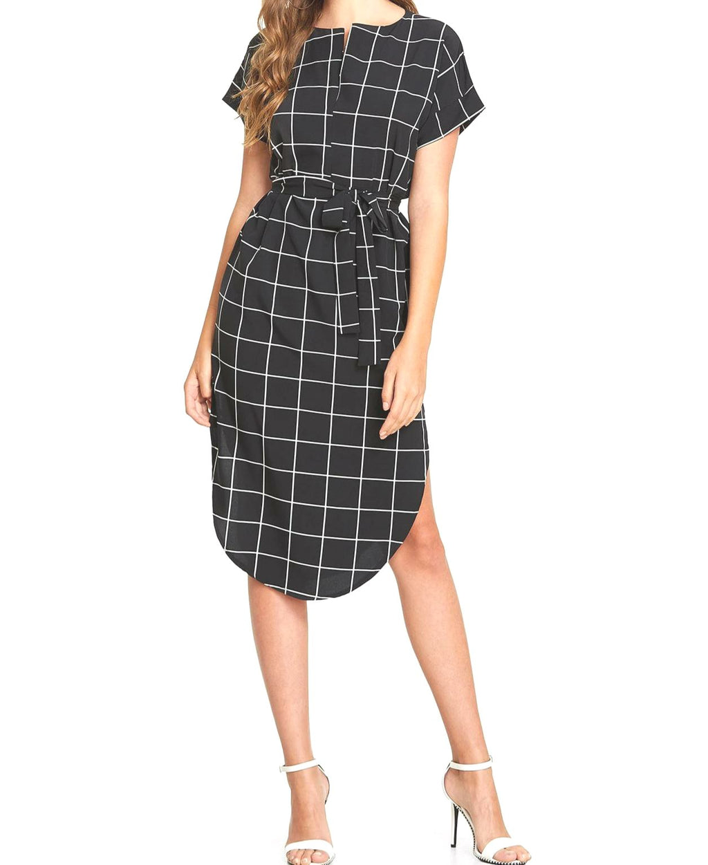 Didi Royale | Clothing | Yamilet Grid Print Asymmetrical Dress
