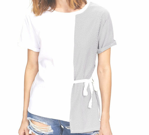 Didi Royale | Online Women's Boutique | Clothing | Dakota Contrast Striped Knot Side Tee