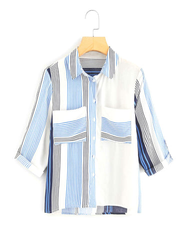 Didi Royale | Online Women's Boutique | Clothing | Londyn Front Pocket Striped Blouse