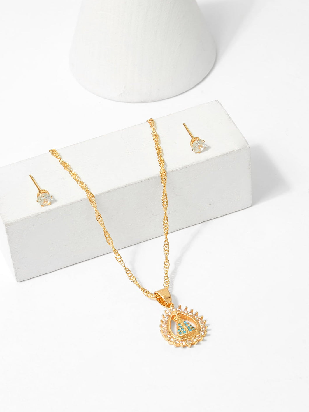 Sarahi Waterdrop Pendant Necklace And Earrings Set - Didi Royale