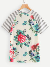 Didi Royale  | Clothing | Damaris Floral Print Contrast Striped Tee