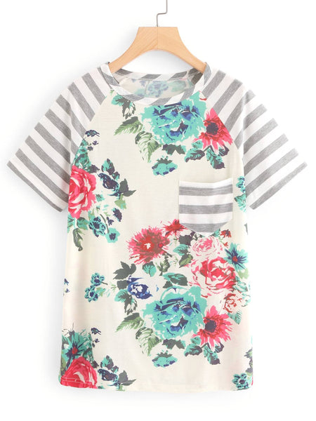 Didi Royale | Online Women's Boutique | Clothing | Damaris Floral Print Contrast Striped Tee