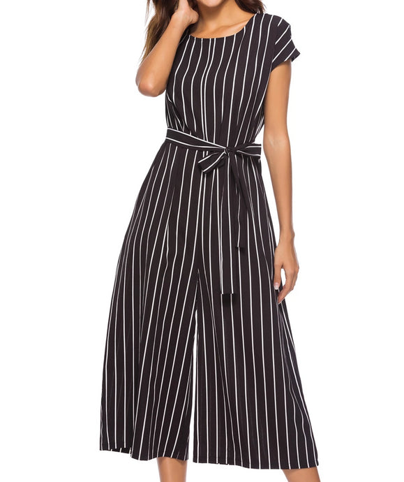 Didi Royale  | Clothing | Janiah Striped Tie Waist Wide Leg Jumpsuit