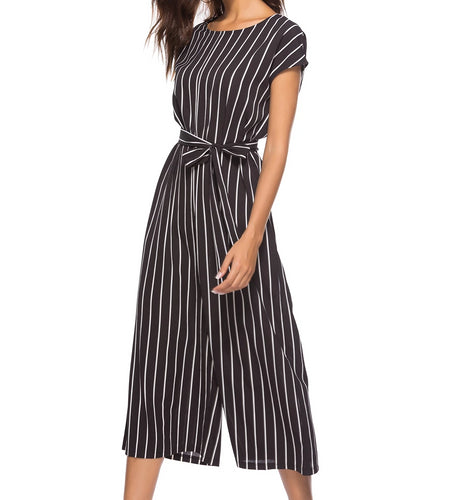 Didi Royale | Online Women's Boutique | Clothing | Janiah Striped Tie Waist Wide Leg Jumpsuit