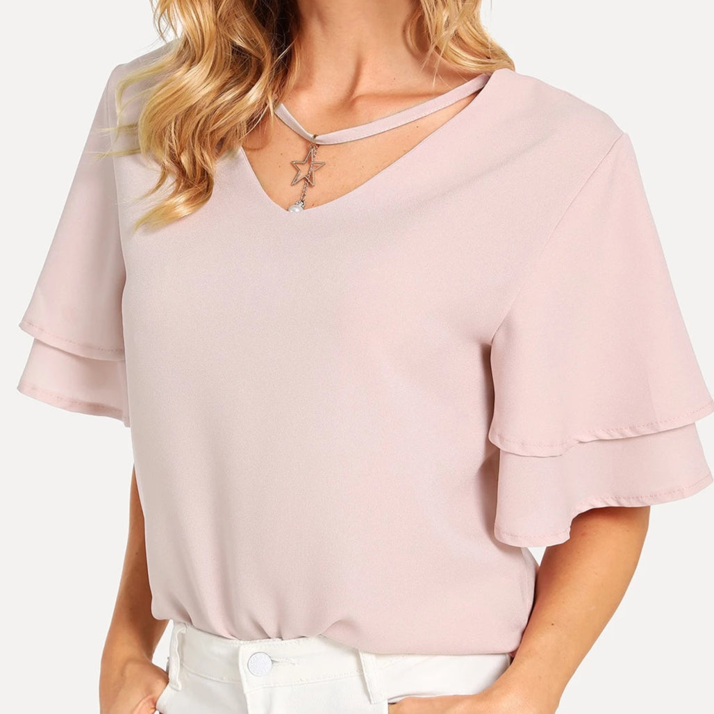 Didi Royale | Clothing | Maritza Pearl Detail Choker V Neck Blouse