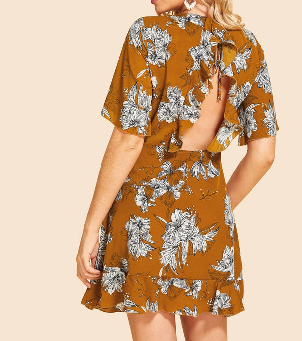 Didi Royale | Online Women's Boutique | Clothing | Kali Ruffle Embellished Back Floral Dress