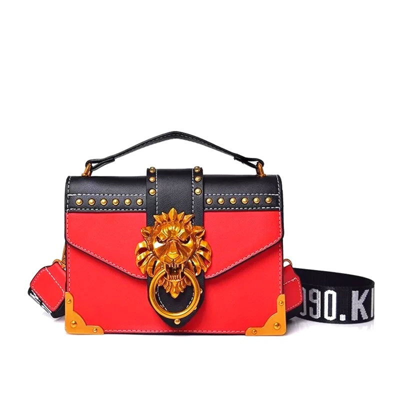 Didi Royale | Online Women's Boutique | Accessories | Skyler Metal Lion Head Handbag - Red