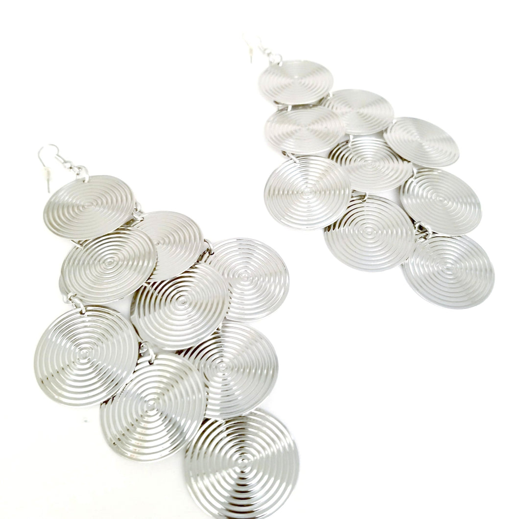 Didi Royale | Online Women's Boutique | Accessories | Kaylynn Silver Circular Dangling Earrings