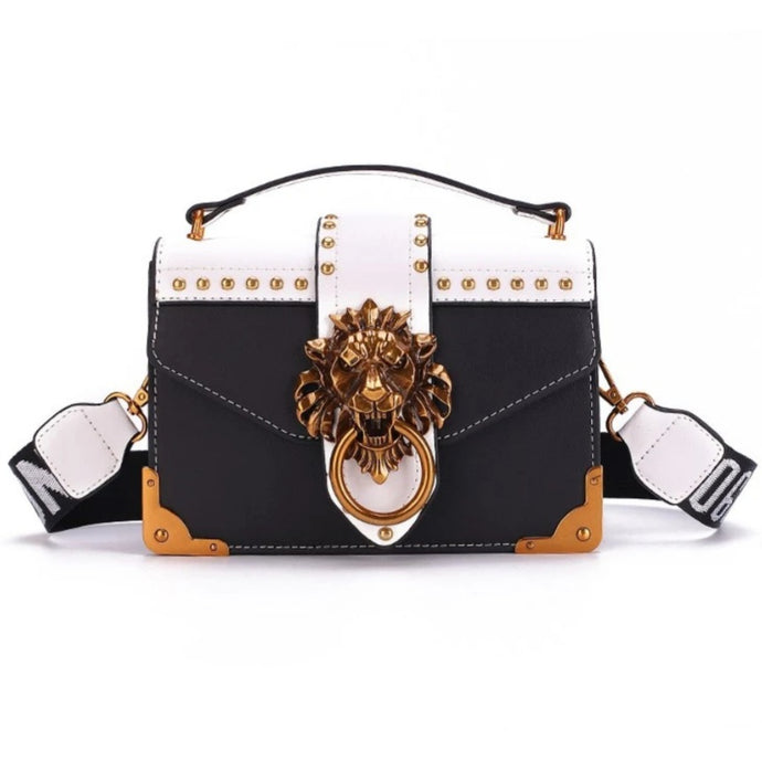 Didi Royale | Online Women's Boutique | Accessories | Skyler Metal Lion Head Handbag - Black
