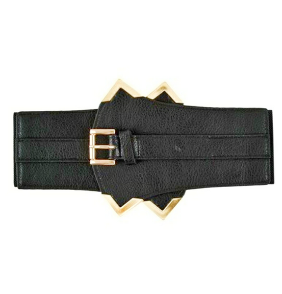 Sharon Corset Belt With Metallic Gold Trim