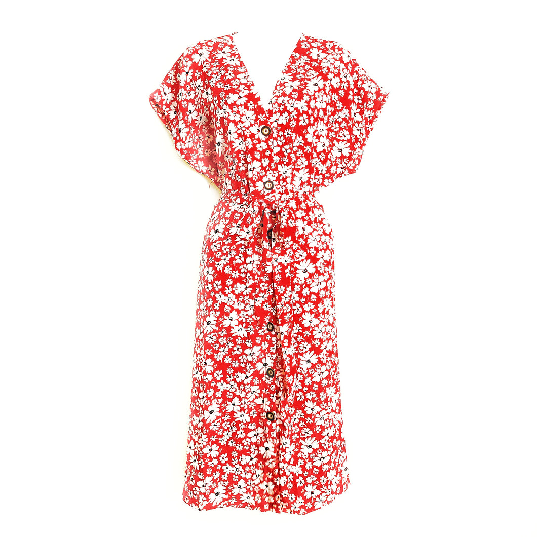 Didi Royale | Online Women's Boutique | Clothing | Erika Plunging Neck Pleated Floral Dress