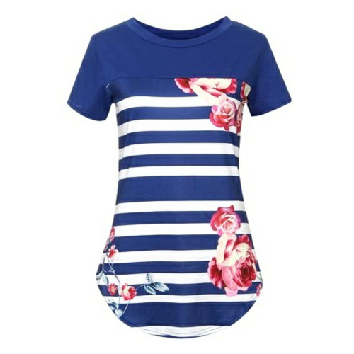 Fiona Floral Print Striped T-Shirt - Didi Royale