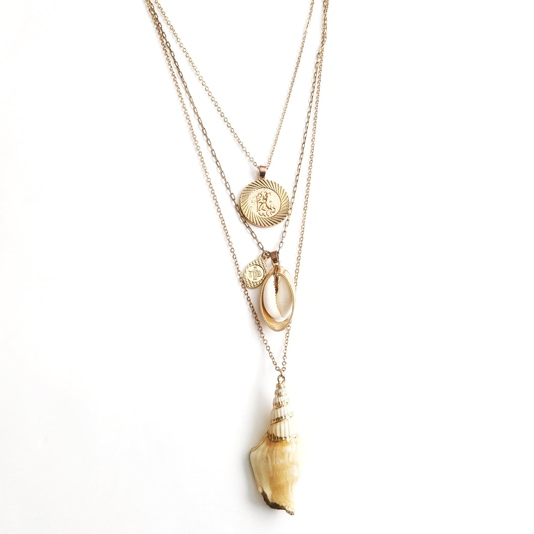 Candace Seashell Layered Necklace - Didi Royale