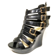 Ada Black Strappy High Heel Wedge Sandals - Didi Royale