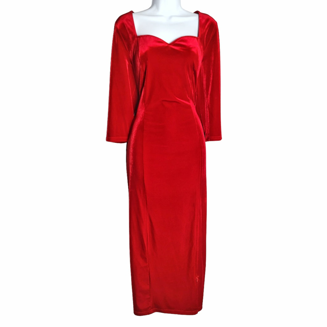 Tyler Red Velvet Midi Dress - Didi Royale