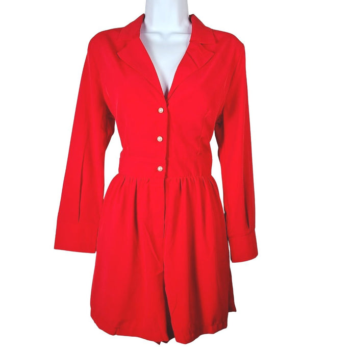 Robyn Red Long Sleeve Romper - Didi Royale