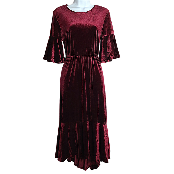 Becka Burgundy Velvet Midi Dress