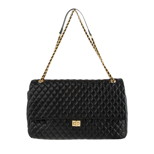 Sonya Oversized Black Quilted Messenger Bag with Gold Chain Strap - Didi Royale