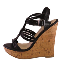 Madison Black Strappy Wedges - Didi Royale