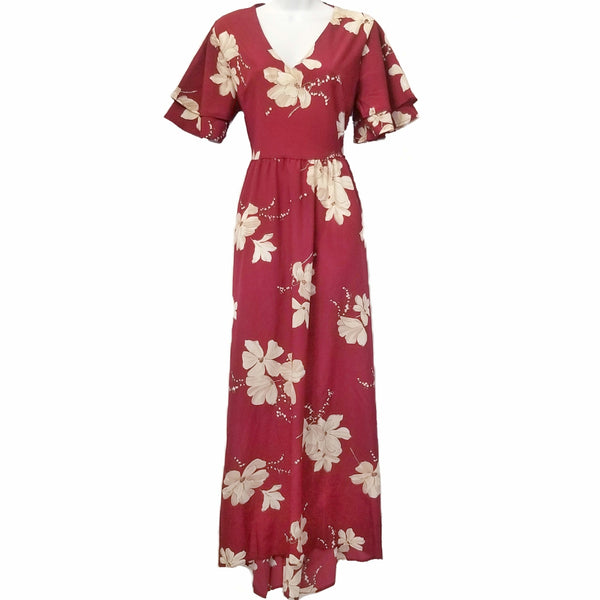 Didi Royale | Online Women's Boutique | Clothing | Canela Burgundy Floral Print Maxi Dress