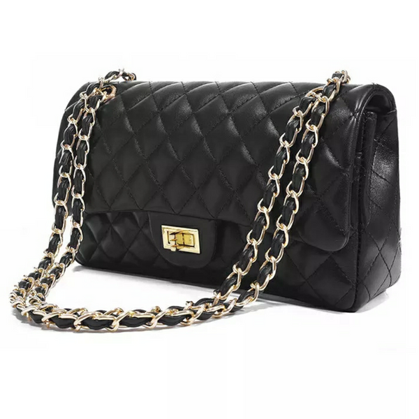 Chantay Black Quilted Bag With Chain Strap - Didi Royale