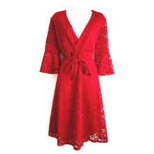 Adison Red Laced Midi Dress - Didi Royale