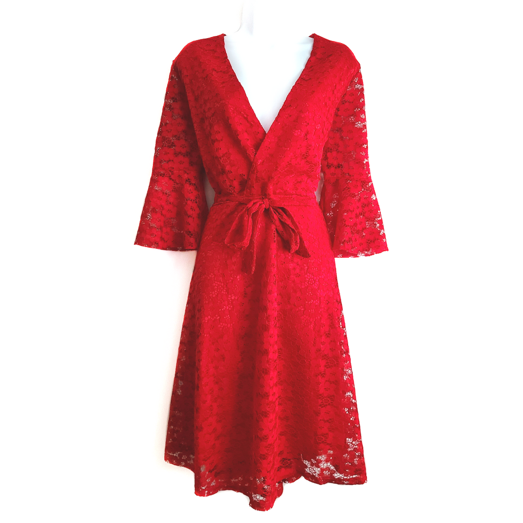 Didi Royale | Online Women's Boutique | Clothing | Adison Red Laced Midi Dress