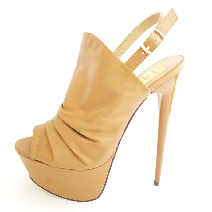 Didi Royale | Online Women's Boutique | Shoes | Vicky Tan Peep Toe Sling Back High Heel Sandals