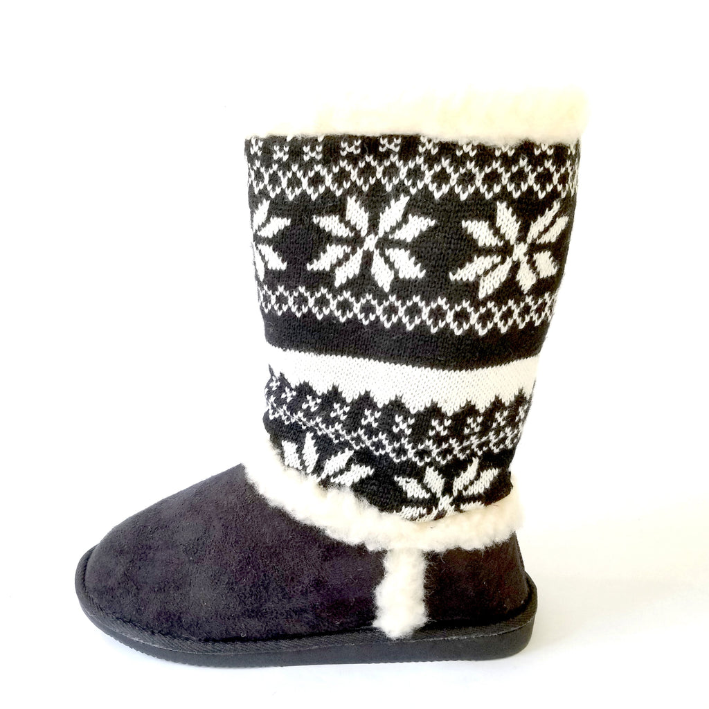 Didi Royale | Shoes | Janet Black Snow Print Fur Lined Boot