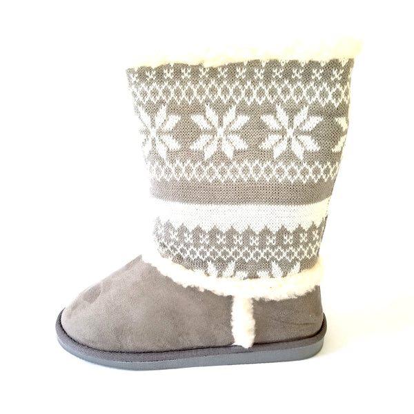 Didi Royale | Online Women's Boutique | Shoes | Janet Gray Snow Print Fur Lined Boot