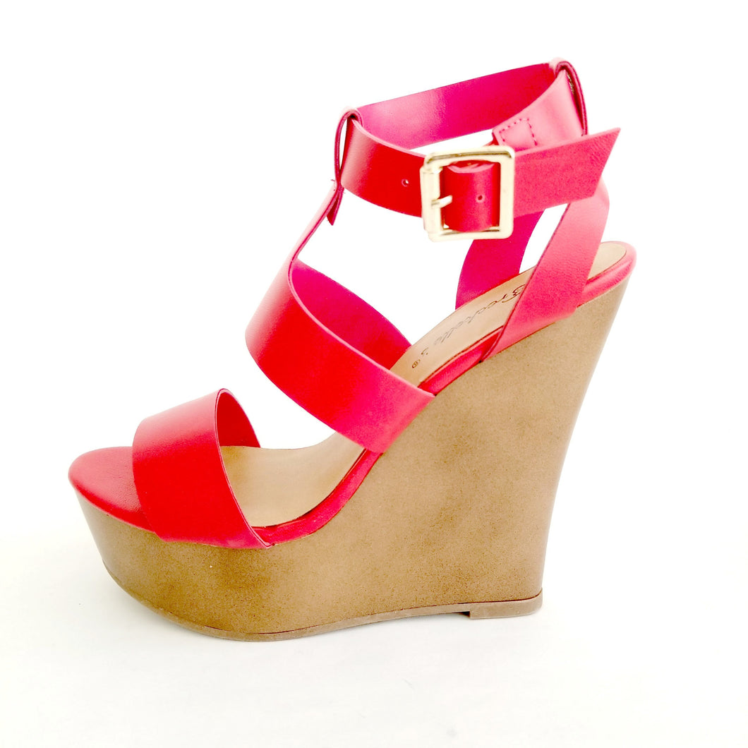 Chelsey Red Wedge Sandals - Didi Royale