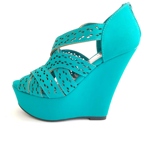 Didi Royale | Online Women's Boutique | Shoes | Mylee Finder Turquoise High Heel Wedge Sandals