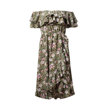 Didi Royale | Online Women's Boutique | Clothing | Aleah Off Shoulder Floral Print Ruffle Hem Midi Dress