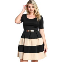 Iris A Line Plus Size Striped Mini Dress - Didi Royale
