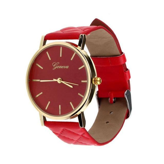 Geneva Red Plush Stitched Watch - Didi Royale