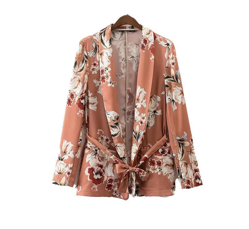 Didi Royale | Online Women's Boutique | Clothing | Siana Floral Print Satin Blazer With Sash