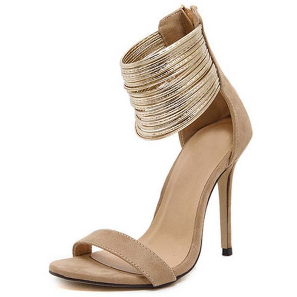 Bacari Gold Multi Strap High Heel Sandal - Didi Royale