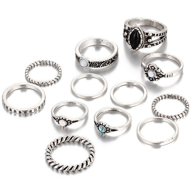 Evie Silver Antiqued Layered Ring Set - Didi Royale