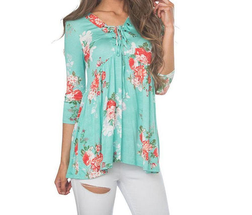 Didi Royale | Online Women's Boutique | Clothing | Lauryn Lace Up V Neck Mint Floral Print Loose Blouse (2 Colors)